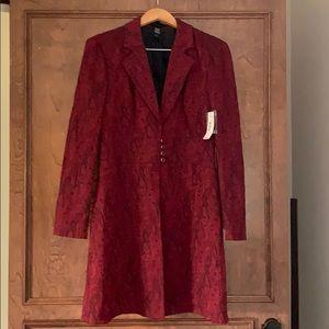 NWT Bisou Bisou Ref & Black Long Coat Jacket 14